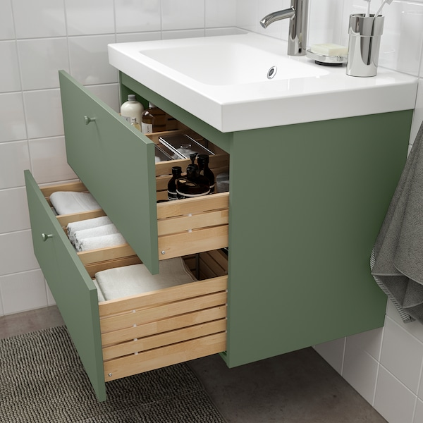GODMORGON / ODENSVIK Sink cabinet with 2 drawers, Gillburen gray-green/Dalskär faucet, 32 5/8x19 1/4x25 1/4 ""
