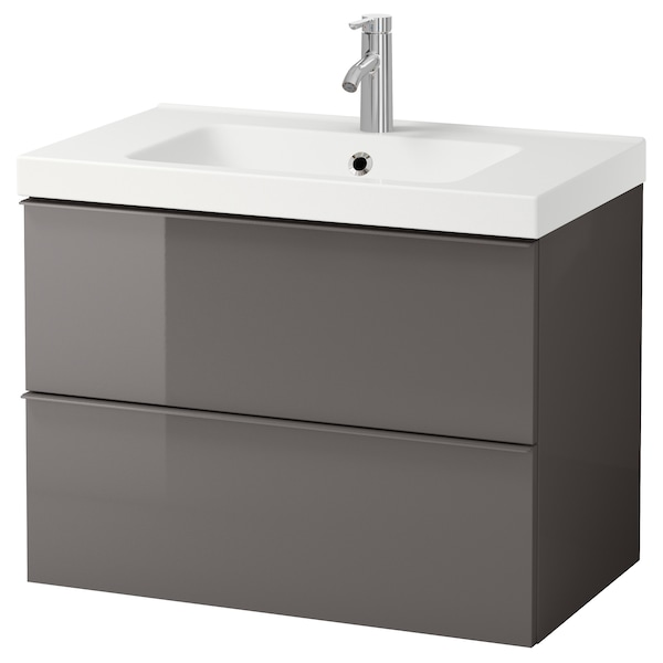 Godmorgon Odensvik Sink Cabinet With 2 Drawers High Gloss Gray Dalskär Faucet 32 5 8x19 1 4x25 1 4 Ikea
