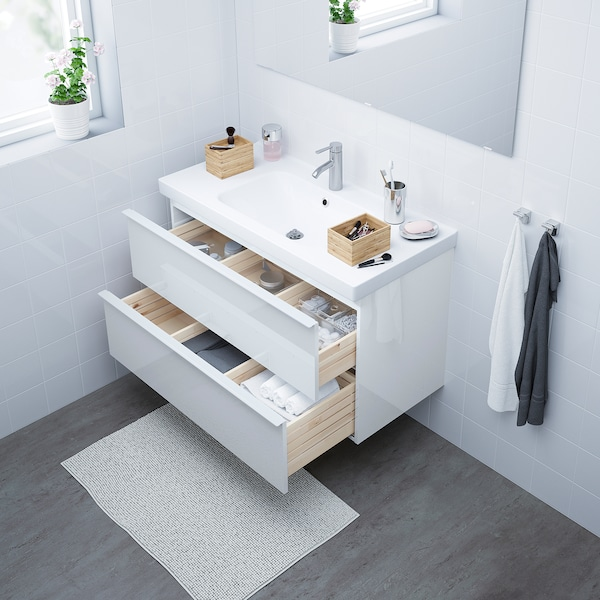"""GODMORGON / ODENSVIK Sink cabinet with 2 drawers, high gloss white/Dalskär faucet, 40 1/2x19 1/4x25 1/4 """""""