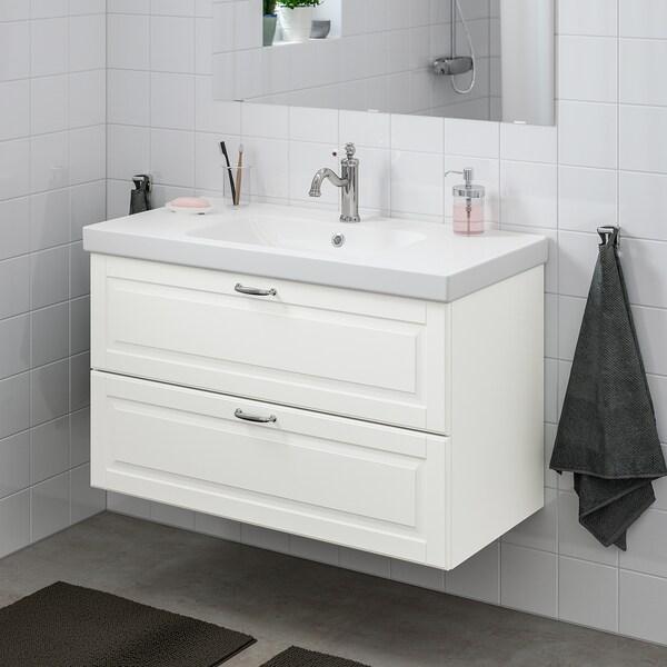 """GODMORGON / ODENSVIK sink cabinet with 2 drawers Kasjön white/Hamnskär faucet 40 1/2 """" 19 1/4 """" 25 1/4 """""""