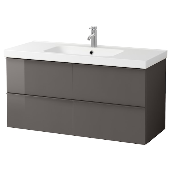 Godmorgon Odensvik Sink Cabinet With 4 Drawers High Gloss Gray Dalskär Faucet 48 3 8x19 1 4x25 1 4 Add To Cart Ikea