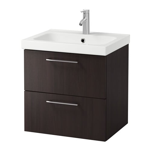 Godmorgon odensvik sink cabinet with 2 drawers black for Ikea godmorgon meuble mural