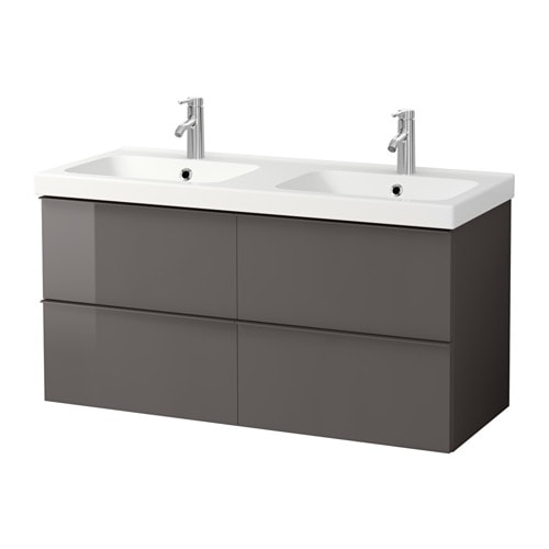 GODMORGON / ODENSVIK Sink cabinet with 4 drawers, high gloss gray high gloss gray 123x49x64 cm