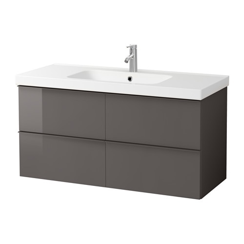GODMORGON / ODENSVIK Sink cabinet with 4 drawers, high gloss gray high gloss gray 47 1/4x19 1/4x25 1/4
