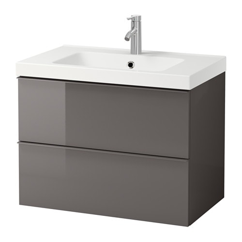GODMORGON / ODENSVIK Sink cabinet with 2 drawers, gray high gloss gray high gloss gray 31 1/2x19 1/4x25 1/4