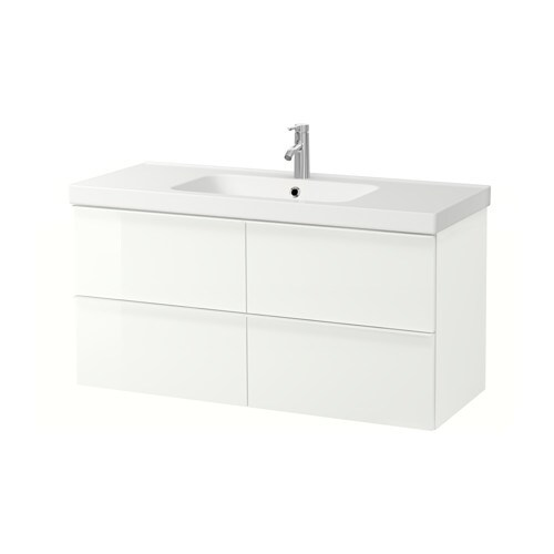 Godmorgon odensvik sink cabinet with 4 drawers high for Vanite salle de bain ikea
