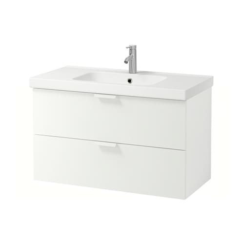 godmorgon odensvik sink cabinet with 2 drawers white stained oak effect ikea