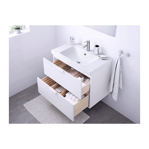 GODMORGON / ODENSVIK Sink cabinet with 2 drawers - high gloss white, 31  1/2x19 1/4x25 1/4