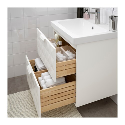 GODMORGON / ODENSVIK Sink cabinet with 2 drawers - white, 24 3/4x19 ...