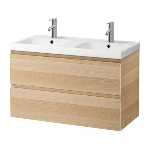 godmorgon odensvik sink cabinet with 2 drawers white stained oak effect 39 3 8x19 1 4x25 1. Black Bedroom Furniture Sets. Home Design Ideas