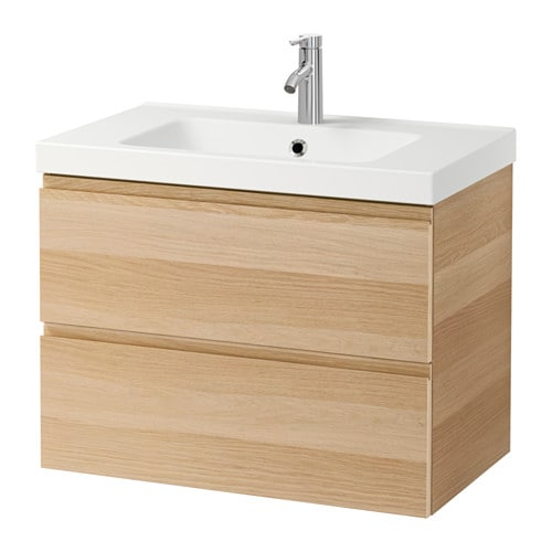 Godmorgon odensvik sink cabinet with 2 drawers white for Chene blanchi ikea