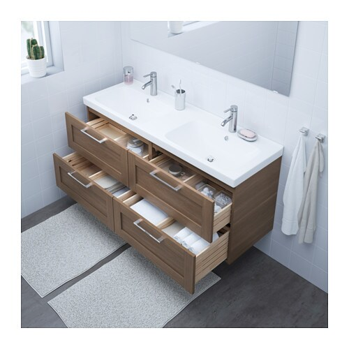 GODMORGON / ODENSVIK Sink cabinet with 4 drawers - white stained oak ...
