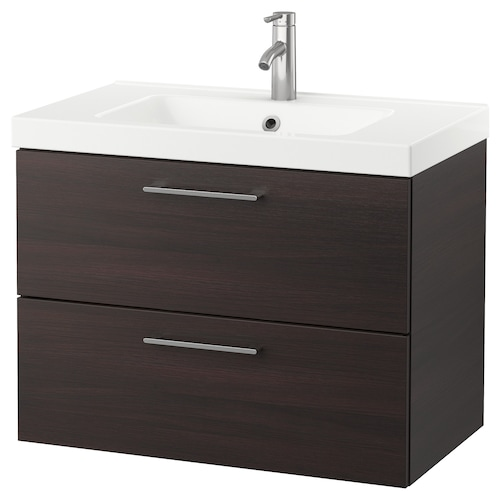"GODMORGON / ODENSVIK sink cabinet with 2 drawers black-brown/Dalskär faucet 32 5/8 "" 31 1/2 "" 19 1/4 "" 25 1/4 """