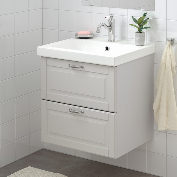"GODMORGON / ODENSVIK sink cabinet with 2 drawers Kasjön light gray/Hamnskär faucet 24 3/4 "" 23 5/8 "" 19 1/4 "" 25 1/4 """