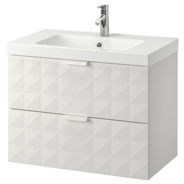 """GODMORGON / ODENSVIK sink cabinet with 2 drawers Resjön white/Dalskär faucet 32 5/8 """" 19 1/4 """" 25 1/4 """""""
