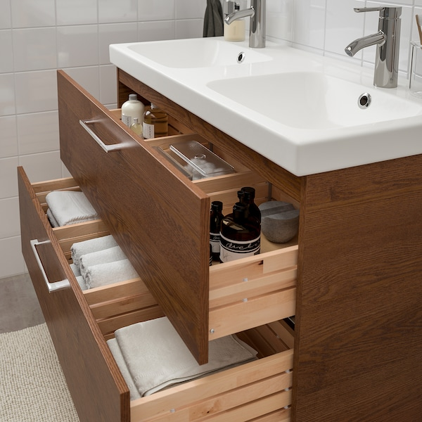 """GODMORGON / ODENSVIK sink cabinet with 2 drawers brown stained ash effect/Dalskär faucet 40 1/2 """" 23 5/8 """" 19 1/4 """" 25 1/4 """""""