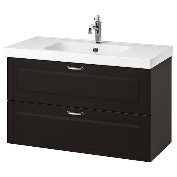"GODMORGON / ODENSVIK sink cabinet with 2 drawers Kasjön dark gray/Hamnskär faucet 40 1/2 "" 39 3/8 "" 19 1/4 "" 25 1/4 """