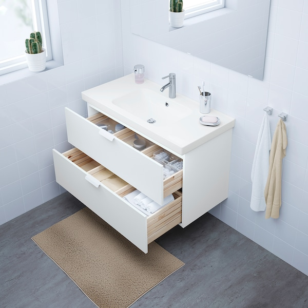 """GODMORGON / ODENSVIK sink cabinet with 2 drawers white/Dalskär faucet 40 1/2 """" 39 3/8 """" 19 1/4 """" 25 1/4 """""""