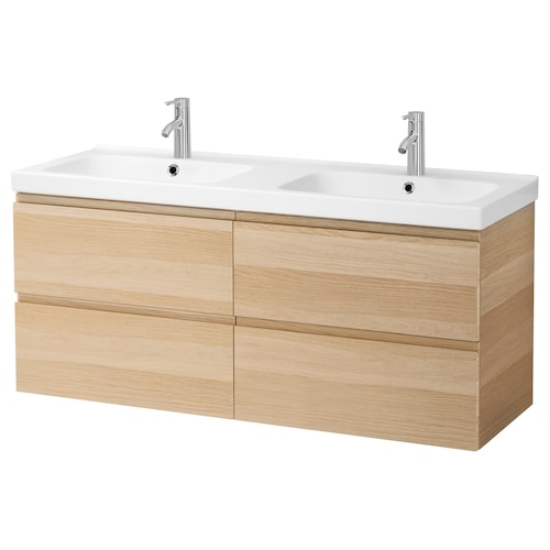 "GODMORGON / ODENSVIK sink cabinet with 4 drawers white stained oak effect/Dalskär faucet 56 1/4 "" 55 1/8 "" 19 1/4 "" 25 1/4 """