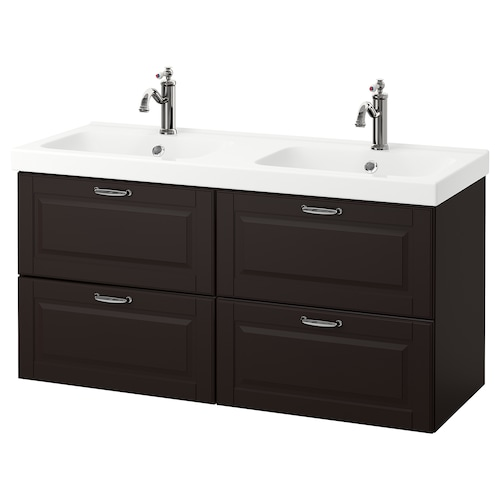 "GODMORGON / ODENSVIK sink cabinet with 4 drawers Kasjön dark gray/Hamnskär faucet 48 3/8 "" 47 1/4 "" 19 1/4 "" 25 1/4 """