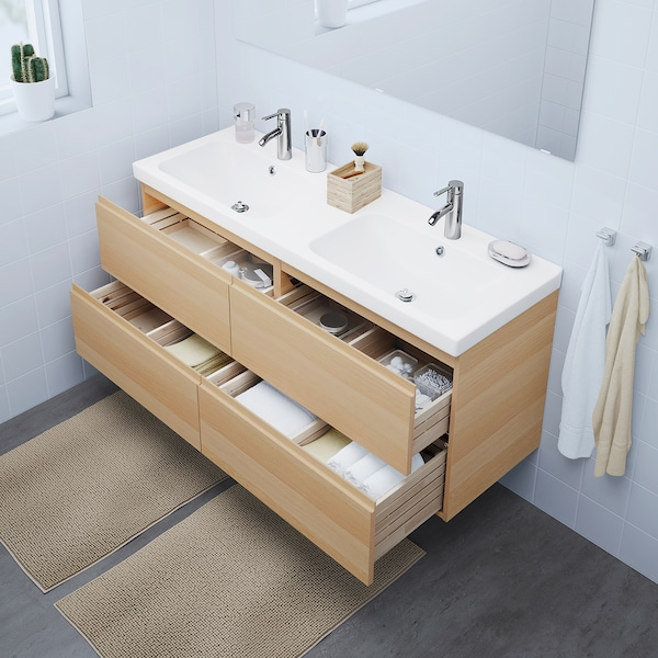 """GODMORGON / ODENSVIK sink cabinet with 4 drawers white stained oak effect/Dalskär faucet 56 1/4 """" 55 1/8 """" 19 1/4 """" 25 1/4 """""""