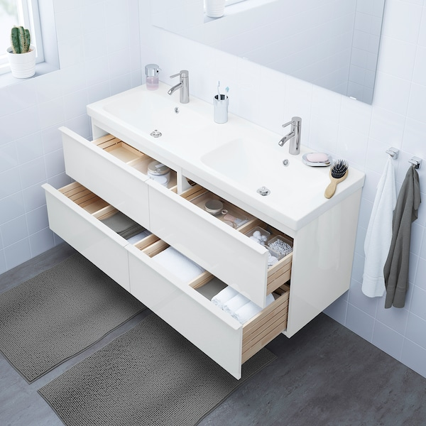 "GODMORGON / ODENSVIK sink cabinet with 4 drawers high gloss white/Dalskär faucet 56 1/4 "" 55 1/8 "" 19 1/4 "" 25 1/4 """