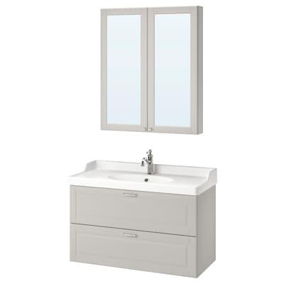 """GODMORGON / RÄTTVIKEN bathroom furniture, set of 4 Kasjön light gray/Hamnskär faucet 40 1/8 """" 39 3/8 """" 19 1/4 """" 35 """""""