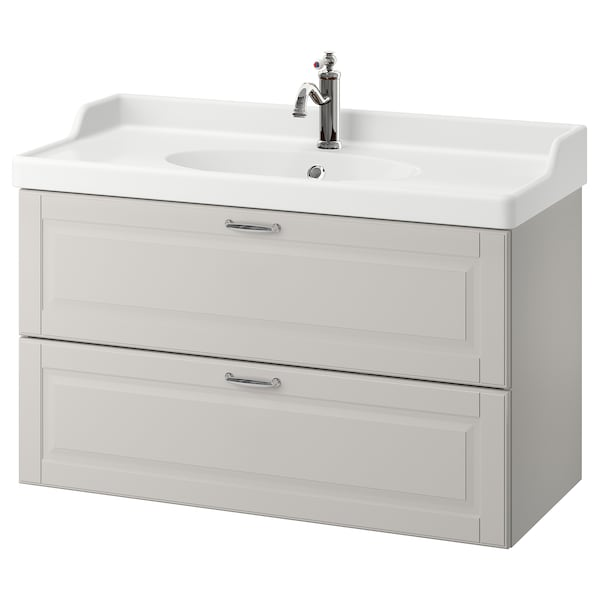 "GODMORGON / RÄTTVIKEN sink cabinet with 2 drawers Kasjön light gray/Hamnskär faucet 40 1/8 "" 19 1/4 "" 26 3/4 """