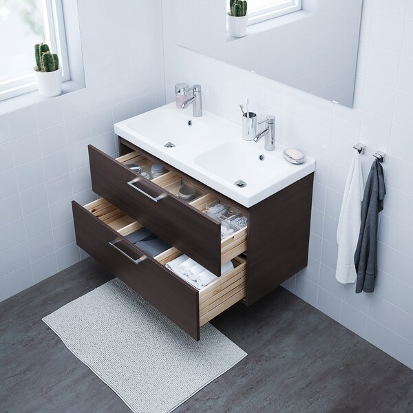 """GODMORGON Sink cabinet with 2 drawers, black-brown, 39 3/8x18 1/2x22 7/8 """""""