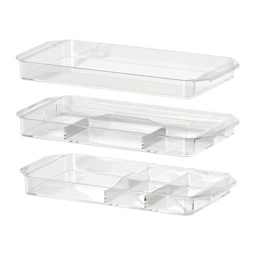 GODMORGON Storage unit, set of 3 IKEA Helps you organize lipsticks, make-up brushes, eye shadows, etc.  Dishwasher safe.