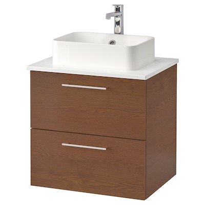 "GODMORGON/TOLKEN / HÖRVIK Cabinet, top + 17 3/4x12 2/8"" sink, brown stained ash effect/marble effect Brogrund faucet, 24 3/8x19 1/4x28 3/8 """