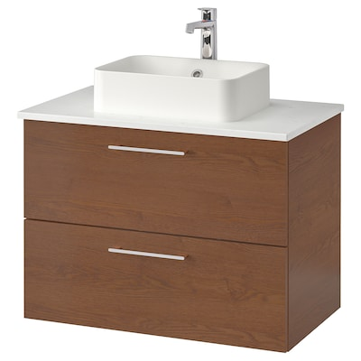 "GODMORGON/TOLKEN / HÖRVIK Cabinet, top + 17 3/4x12 2/8"" sink, brown stained ash effect/marble effect Brogrund faucet, 32 1/4x19 1/4x28 3/8 """