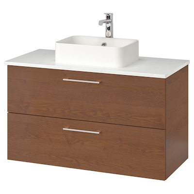 "GODMORGON/TOLKEN / HÖRVIK Cabinet, top + 17 3/4x12 2/8"" sink, brown stained ash effect/marble effect Brogrund faucet, 40 1/8x19 1/4x28 3/8 """