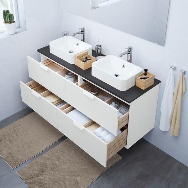 """GODMORGON/TOLKEN / HÖRVIK Cabinet, top + 17 3/4x12 2/8"""" sink, white/anthracite Brogrund faucet, 55 7/8x19 1/4x28 3/8 """""""