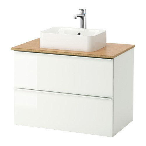godmorgon tolken h rvik cabinet top 17 3 4x12 2 8 sink bamboo high gloss white ikea. Black Bedroom Furniture Sets. Home Design Ideas