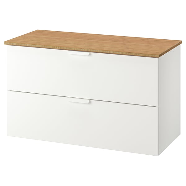 """GODMORGON / TOLKEN Sink cabinet with 2 drawers, white/bamboo, 40 1/8x19 1/4x23 5/8 """""""