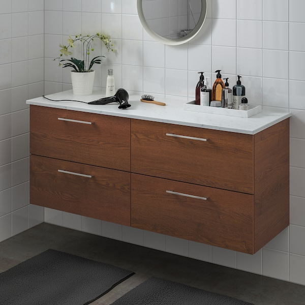 """GODMORGON / TOLKEN Sink cabinet with 4 drawers, brown stained ash effect/marble effect, 55 7/8x19 1/4x23 5/8 """""""