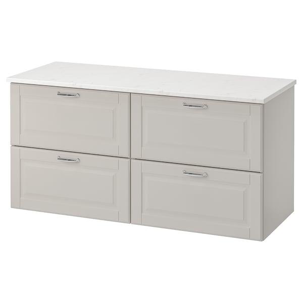 "GODMORGON / TOLKEN sink cabinet with 4 drawers Kasjön light gray/marble effect 48 "" 19 1/4 "" 23 5/8 """