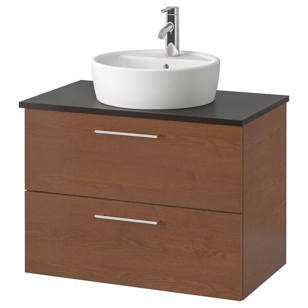 "GODMORGON/TOLKEN / TÖRNVIKEN Cabinet, countertop, 19 5/8"" sink, brown stained ash effect/anthracite Dalskär faucet, 32 1/4x19 1/4x29 1/8 """