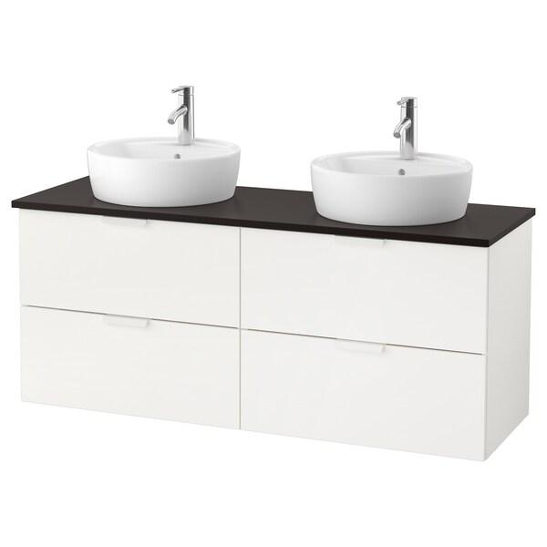 """GODMORGON/TOLKEN / TÖRNVIKEN Cabinet, countertop, 19 5/8"""" sink, white/anthracite Dalskär faucet, 55 7/8x19 1/4x29 1/8 """""""