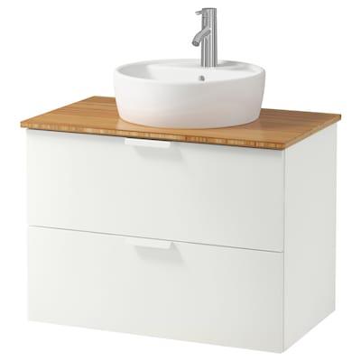 "GODMORGON/TOLKEN / TÖRNVIKEN Cabinet, countertop, 19 5/8"" sink, white/bamboo Dalskär faucet, 32 1/4x19 1/4x29 1/8 """