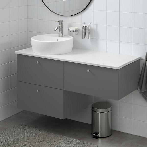 "GODMORGON/TOLKEN / TÖRNVIKEN Sink cabinet with 3 drawers, Gillburen dark gray/marble effect Dalskär faucet, 48x19 1/4x29 1/8 """