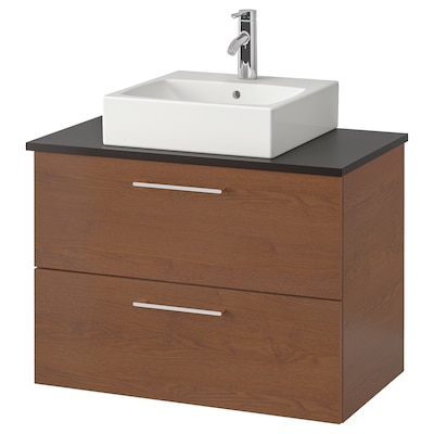 """GODMORGON/TOLKEN / TÖRNVIKEN Vanity, countertop and 17 3/4"""" sink, brown stained ash effect/anthracite Dalskär faucet, 32 1/4x19 1/4x28 3/8 """""""