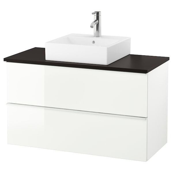 "GODMORGON/TOLKEN / TÖRNVIKEN Vanity, countertop and 17 3/4"" sink, high gloss white/anthracite Dalskär faucet, 40 1/8x19 1/4x28 3/8 """