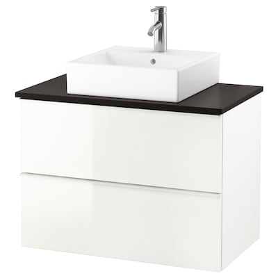 "GODMORGON/TOLKEN / TÖRNVIKEN Vanity, countertop and 17 3/4"" sink, high gloss white/anthracite Dalskär faucet, 32 1/4x19 1/4x28 3/8 """