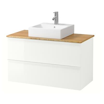 "GODMORGON/TOLKEN / TÖRNVIKEN Vanity, countertop and 17 3/4"" sink, high gloss white/bamboo Dalskär faucet, 40 1/8x19 1/4x28 3/8 """