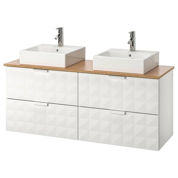 """GODMORGON/TOLKEN / TÖRNVIKEN vanity, countertop and 17 3/4"""" sink Resjön white/bamboo Dalskär faucet 55 7/8 """" 55 1/8 """" 19 1/4 """" 28 3/8 """""""