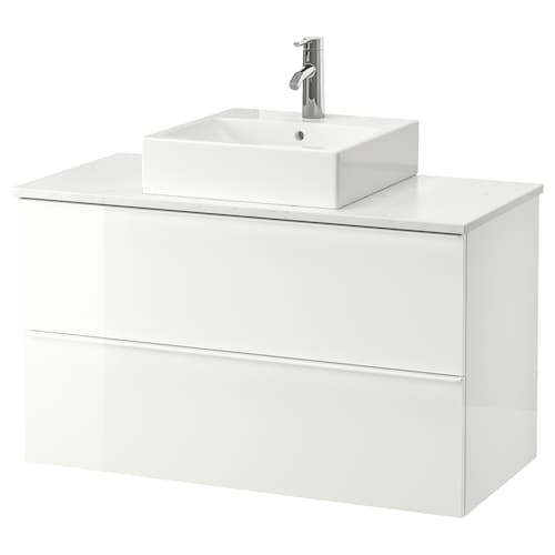"GODMORGON/TOLKEN / TÖRNVIKEN vanity, countertop and 17 3/4"" sink high gloss white/marble effect Dalskär faucet 40 1/8 "" 39 3/8 "" 19 1/4 "" 28 3/8 """
