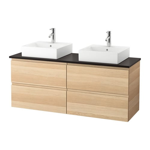 Morgon Tolken TÖrnviken Vanity Countertop And 17 3 4 Sink White Stained Oak Effect Anthracite