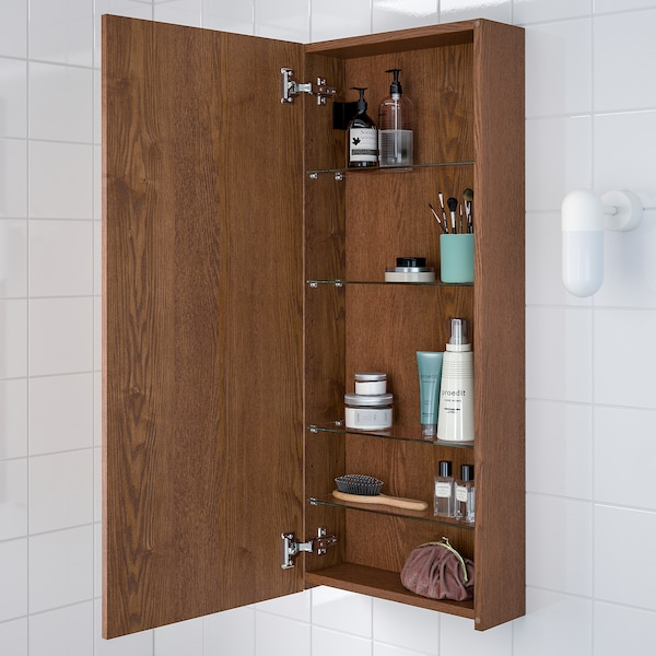 Godmorgon Wall Cabinet With 1 Door Brown Stained Ash Effect 15 3 4x5 2x37 4 Ikea